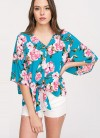 Floral Printed Tie Front Kimono Top Loose in Turquoise by Hyped Unicorn
