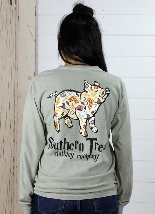 L/S Magical Pig Tee in Grey by Southern Trend