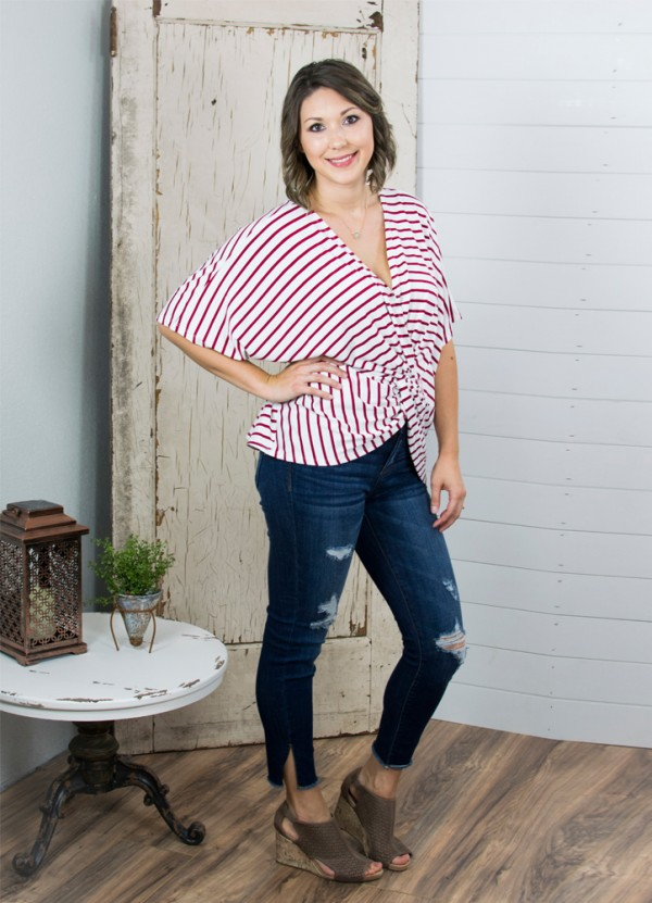 Striped Butterfly Sleeve V Neck Top in Red by Umgee