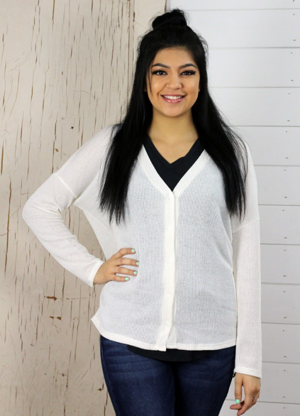 Button Down Cardi in Ivory by Sadie & Sage