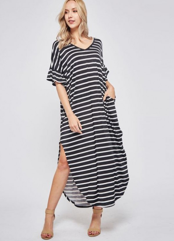 Ruffled Sleeve V Neck Striped Maxi Dress in Black/Ivory by Beeson River