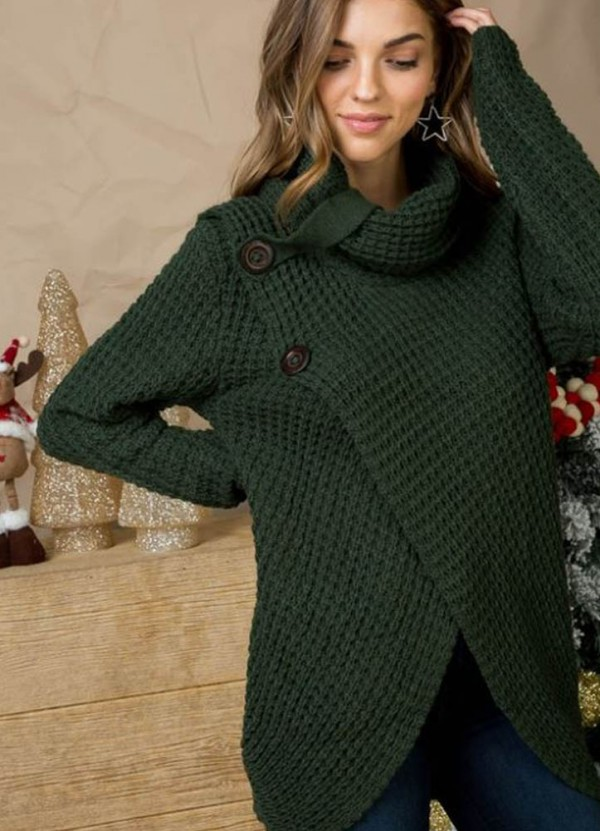L/S Cowl Neck Sweater in Hunter Green by Main Strip