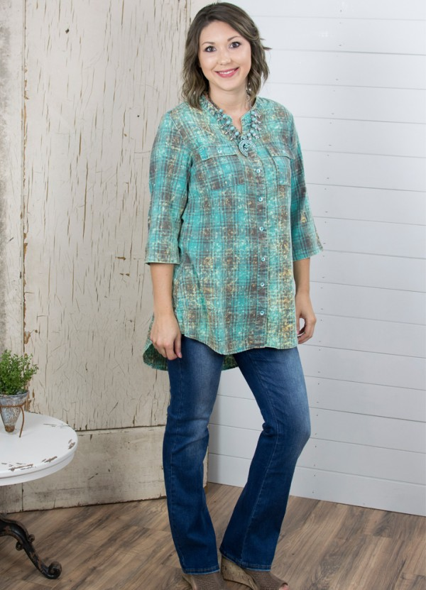 Loretta Plaid Tunic in Turquoise by Crazy Train