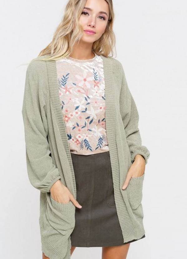 Chenille Cardigan in Olive by Listicle