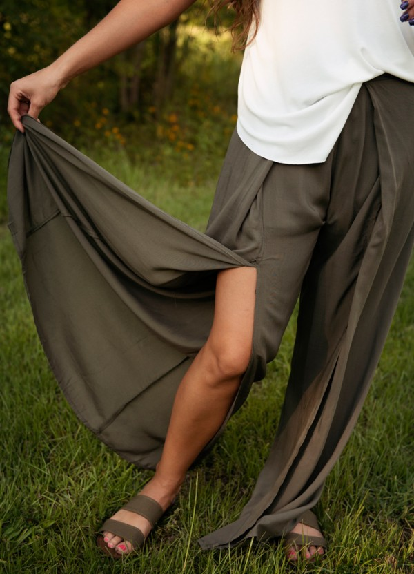 High Waisted Double Slit Pants in Olive by Entro