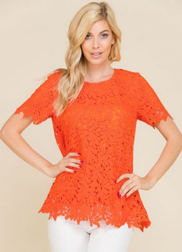 Crochet Lace Short Sleeve Top in Tangerine by Wellmade