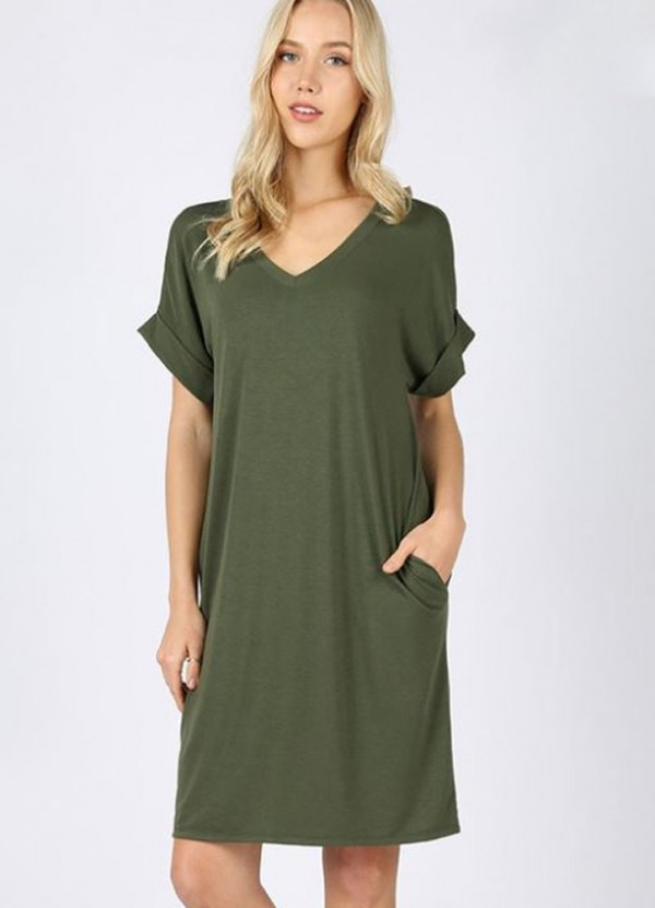 Rolled S/S V Neck Dress in Army Green