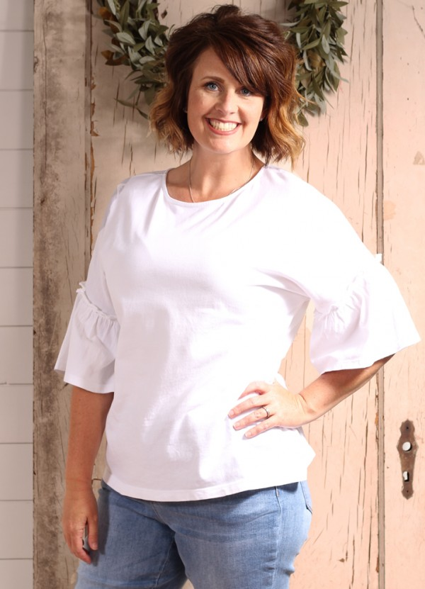 Flared Sleeve Crew Neck Tee in White by Beach Lunch Lounge