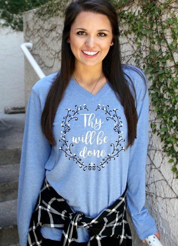 Thy Will Be Done L/S V-Neck in Blue Triblend by ATX Mafia