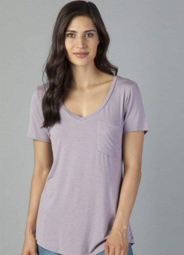 S/S Phoenix V Neck Tee in Dusty Lilac by Another Love
