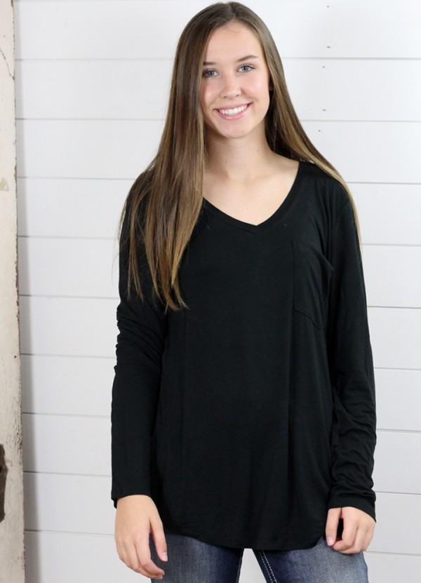 L/S Molly Pocket V-Neck Tee in Black by Another Love