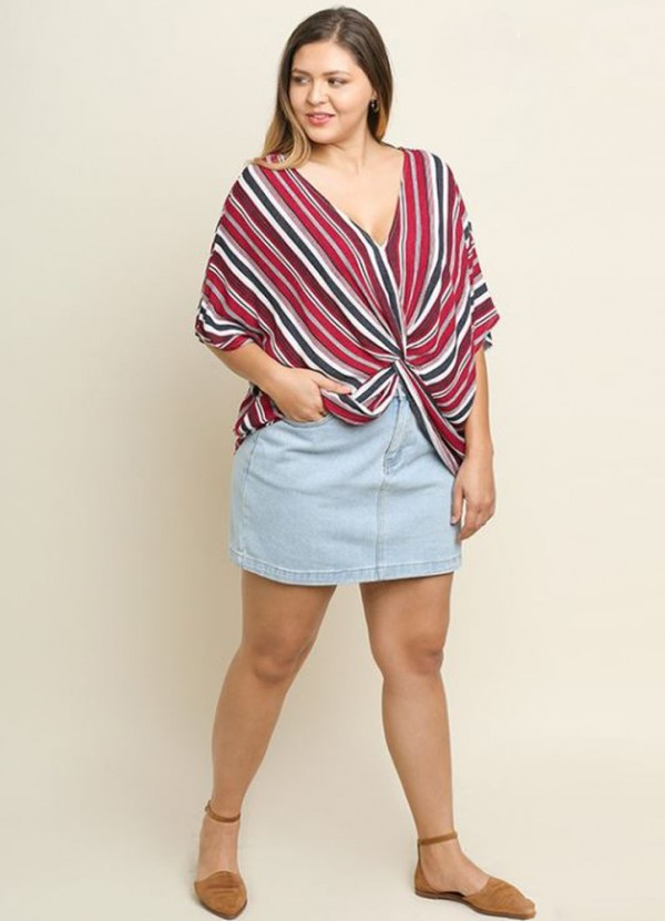 Plus Striped V Neck Dolman Sleeve Top with Center Knot Detail in Red Mix by Umgee