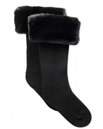 Faux Fur Tall Rainboot Sock in Black by UGG