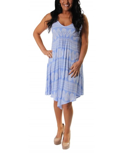 Paisley Stripe Uneven Hem Dress in Periwinkle by Vintage Havana