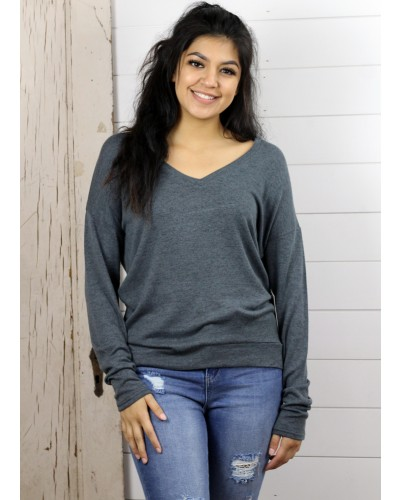 L/S V Neck Top in Charcoal Frosted Heather by Dex