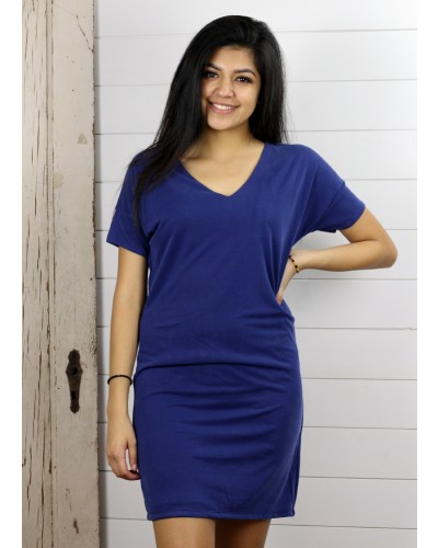 S/S V Neck Tunic Dress in Cobalt Blue by Dex
