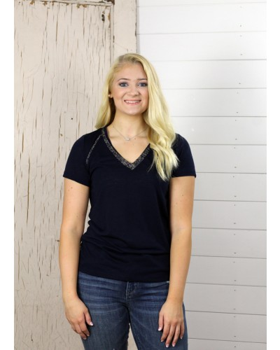 S/S V Neck Top in Navy Blue by Dex