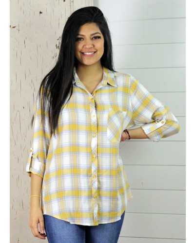Button Down Top in Yellow by Staccato