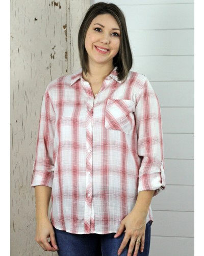 Rosie Button Front Plaid Shirt in Rose