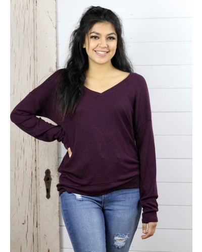 L/S V Neck Top in Merlot Heather by Dex
