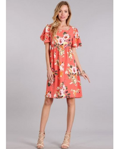 Floral printed midi dress w/round neck in Coral