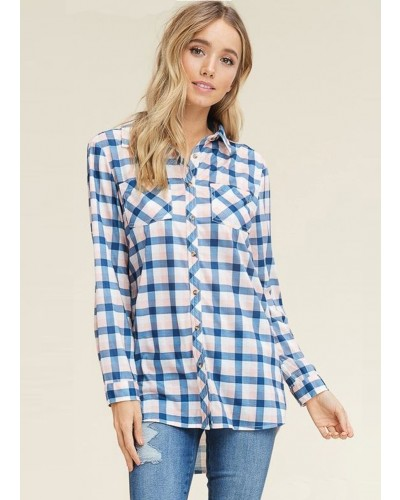 Spring Button Down Plaid Shirt in Navy/Pink