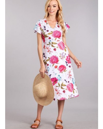 Jerge Print V Neck Dress in Off White/Pink Floral by Chris and Carol