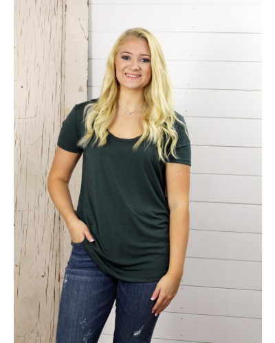 S/S Deep Scoop Neck Tee in Frosted Pine by Dex
