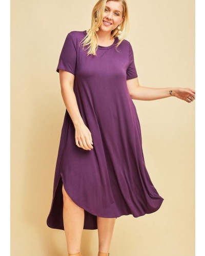 Midi Dress with Pockets in Plum