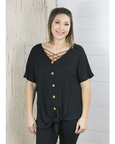 Waffle Front Tie Top in Black