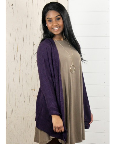 Long Dolman Sleeve Cardigan in Plum