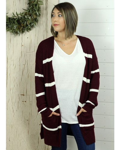 Striped Cardigan in Burgundy/Ivory