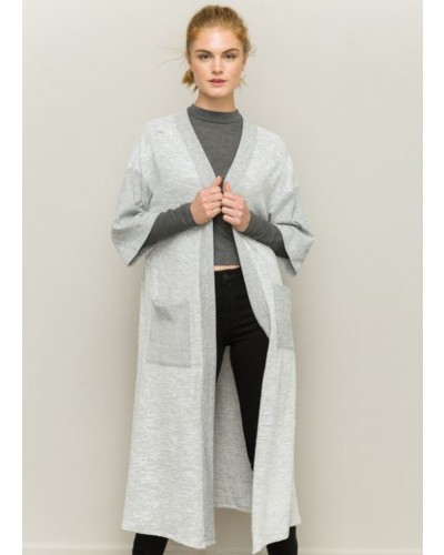 Brushed Rib Contrast Duster in Heather Grey by Hem & Thread