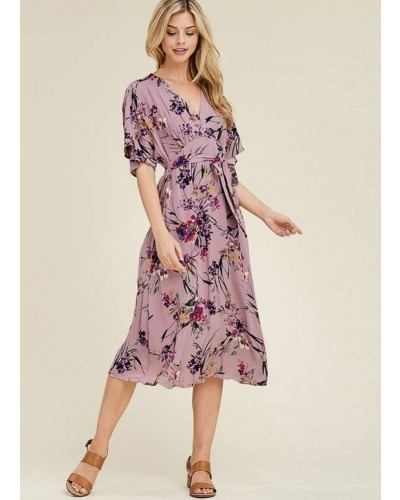 Floral Mid Dress in Lavender