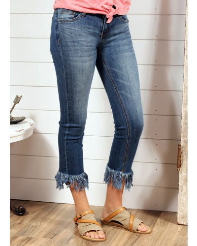 Long Fray Cropped Jeans by Judy Blue