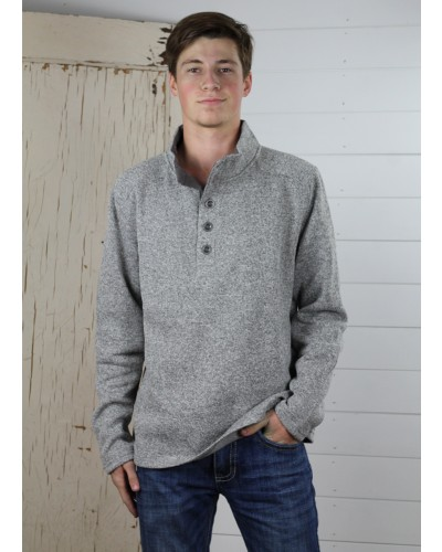1/4 Button Fleece in Beige Heather by F/X Fusion