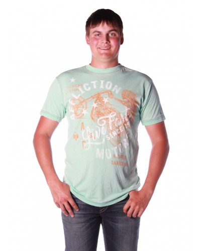 Flagstaff W/W 50/50 Tee in Mint Green Burnout Wash by Affliction