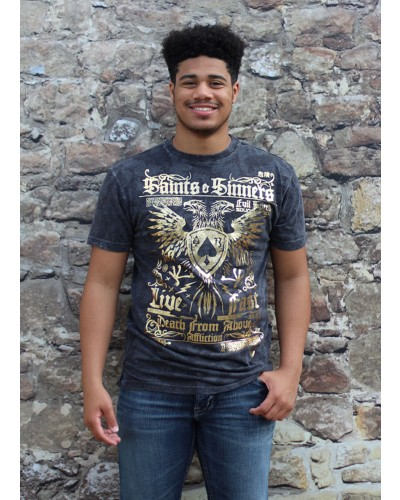 Saints & Sinners S/S DT Tee Black Lava Wash by Affliction