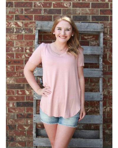 Favorite V-Neck Tee in Blush by a.gain
