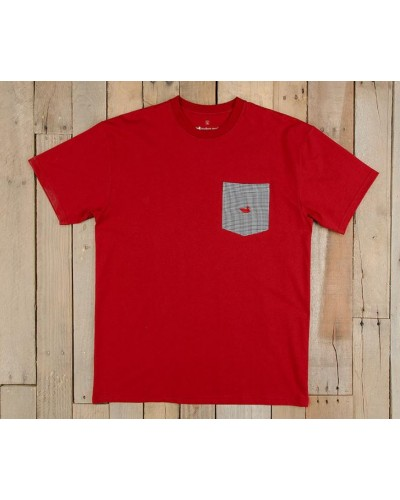 Stewart Pocket Tee in Crimson with Houndstooth by Southern Marsh