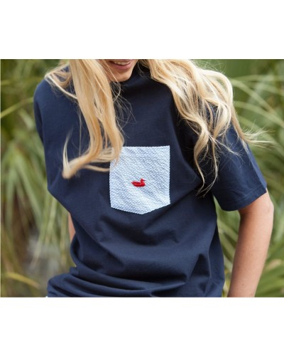 Stewart Pocket Tee in Navy with Blue by Southern Marsh