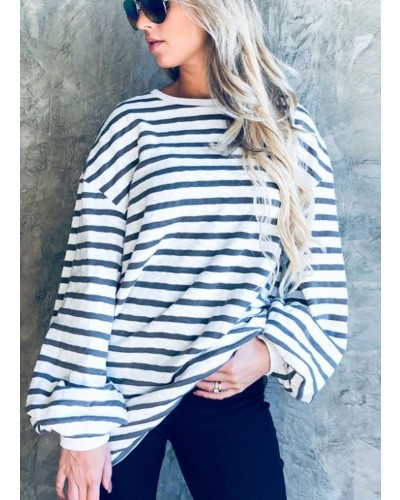 Balloon Sleeve Casual Stripe Top by and the why