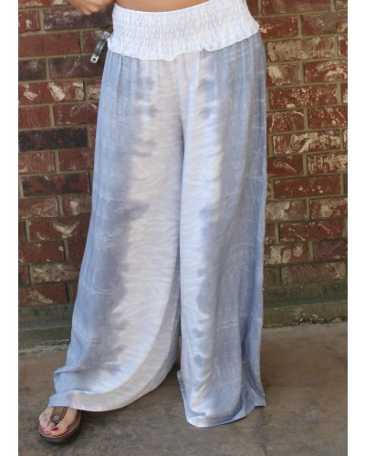 Tie Dye Print Wide Leg Pants in Dusty Blue/Ivory by Vintage Havan