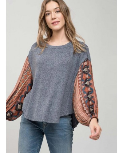 Oversized Top with Silk Sleeves in Navy Multi