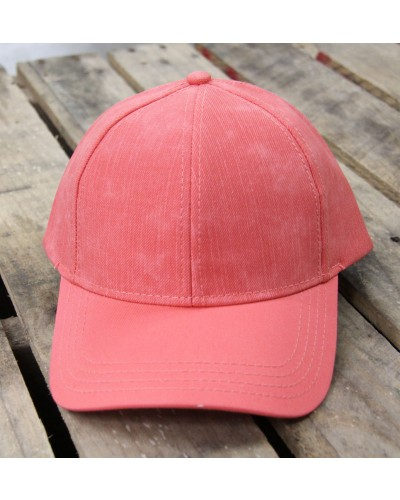 Distressed Baseball Cap in Coral by CC Beanie