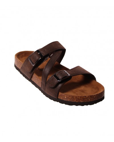 Budha Buckle Sandal in Brown Nubuck by Miami Shoe