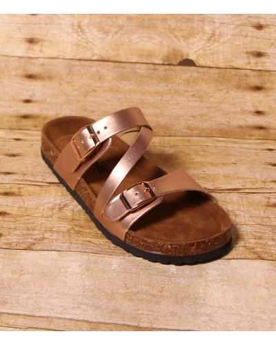 Budha Buckle Sandal in Rose Gold by Miami Shoe