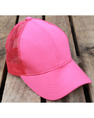 CC Brand Pony Cap W/Mesh in Hot Pink by Hana