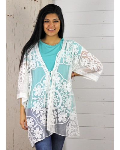 Open Front Floral Lace Kimono in Cream by Umgee
