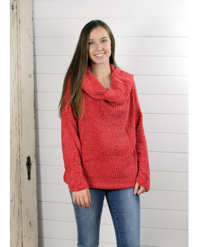 Fold Over Off Shoulder Chenille Sweater in Terracotta by Umgee